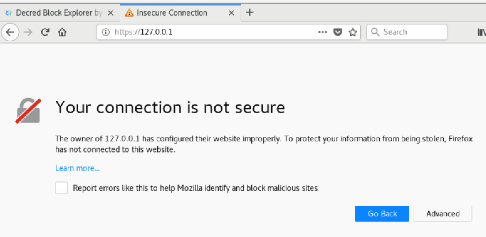 Figure 4 - Firefox Security Exception
